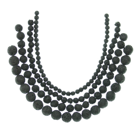 Multi-pack - Black Lava Round Stone Beads (sizes 4mm, 6mm, 8mm, 10mm)