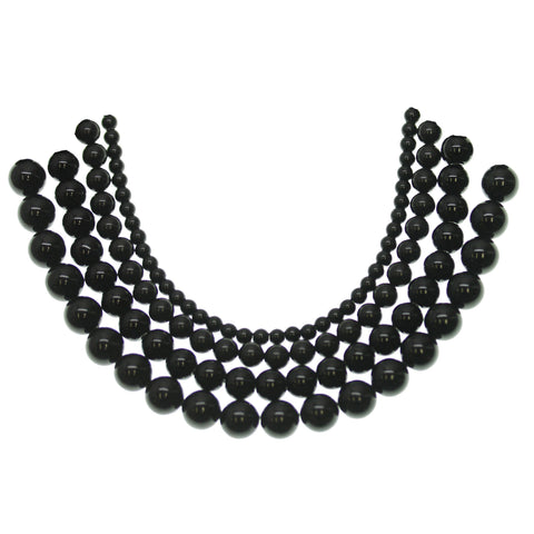 Multi-pack - Black Dyed Dolomite Round Stone Beads (sizes 4mm, 6mm, 8mm, 10mm)