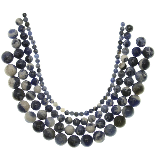 Multi-pack - Sodalite Round Stone Beads (sizes 4mm, 6mm, 8mm, 10mm)