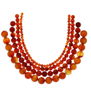 Multi-pack - Dyed Agate Orange Round Stone Beads (sizes 4mm, 6mm, 8mm, 10mm)