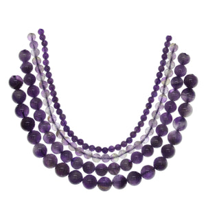 Multi-pack - Amethyst Round Stone Beads (sizes 4mm , 6mm , 8mm , 10mm )