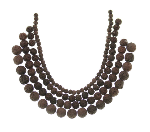 Multi-pack - Brown Lava Round Stone Beads (sizes 4mm, 6mm, 8mm, 10mm)