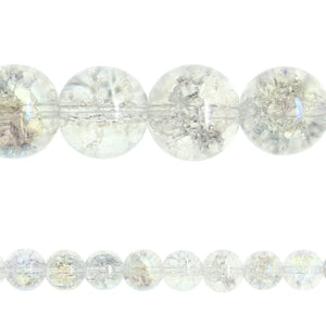 Crystal Glass Crackle AB 12mm RoundBeads by Halcraft Collection