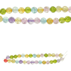 Multi Color Crackle Quartz Stone 6mm Round BeadsBeads by Halcraft Collection