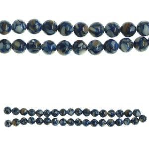 Blue Dyed Reconstituted Shell 6mm Round BeadsBeads by Halcraft Collection