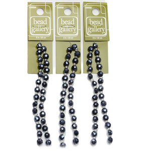 Super Bundle - Cuentas de lentejas facetadas de vidrio de brillo negro de 5 x 6 mm (3 paquetes / 84 piezas) de Halcraft Collection
