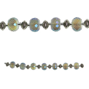 Glass Aqua Lustre Faceted Rondell Large & Metal Bead MixBeads por Halcraft Collection