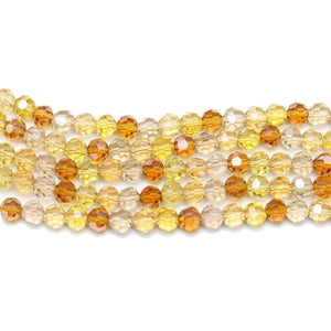 Amber Mix 4mm  Glass Faceted RoundBeads by Halcraft Collection