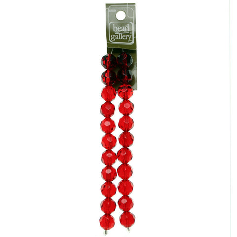 Glass Red Transparent 14mm Faceted Round