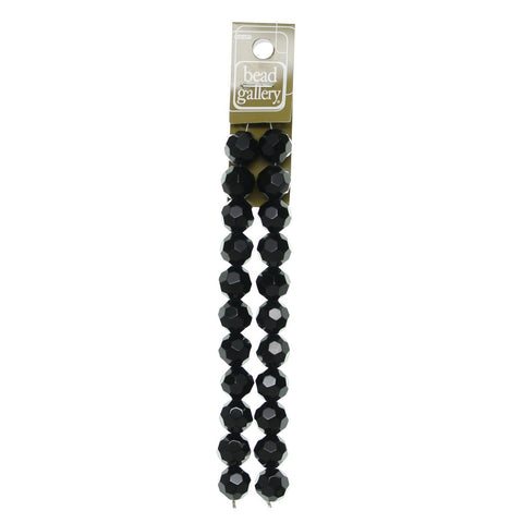 Glass Black Faceted 14mm Round