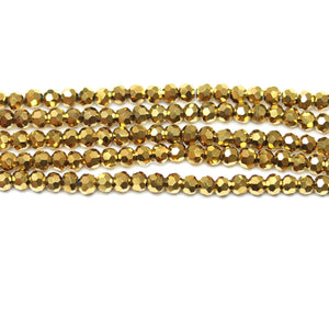 Glass Gold Tone Faceted 3mm  RoundBeads by Halcraft Collection