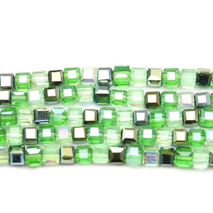 Glass Green Luster Mix Faceted 4mm  CubeBeads by Halcraft Collection