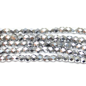 Silver Iris Glass Tube 3x4mm Beads by Halcraft Collection