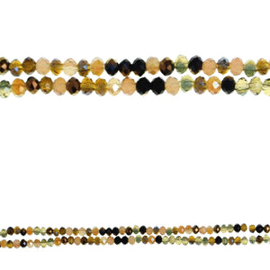 Amber Glass Mix 2x3mm Faceted Rondell