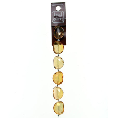 Glass Amber Luster Faceted 18x23mm Beans
