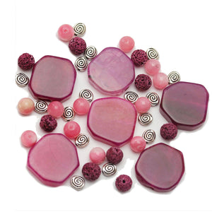 Super Bundle - Pink Dyed Agate Stone and Metal Beads Mix(3Packs/45Pieces)Beads by Halcraft Collection