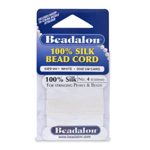Beadalon Silk Thread, Size 04 (0.60 mm, .024 in) - White, with Needle, 2 M (6.5 Ft)