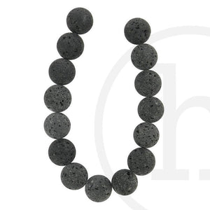 Natural Lava Rock Black RoundBeads by Halcraft Collection
