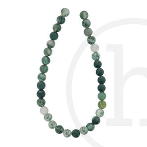 Semi-Precious, Stone Moss Agate RoundBeads by Halcraft Collection