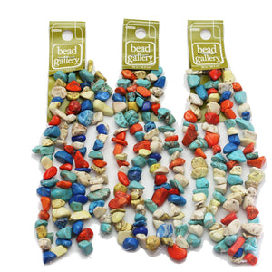 Super Bundle - Multi Dyed Howlite Chips 7-12mm Beads(3Packs/240Pieces)Beads by Halcraft Collection