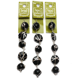 Super Bundle - Black Glass with Wire Wrap 18mm Bead Mix(3Packs/15Pieces)Beads by Halcraft Collection