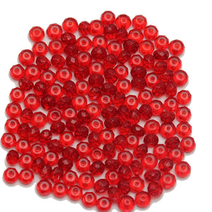 Super Bundle - Cuentas de cristal rojo opaco facetadas Rondell de 4 x 6 mm (3 paquetes / 186 piezas) de Halcraft Collection