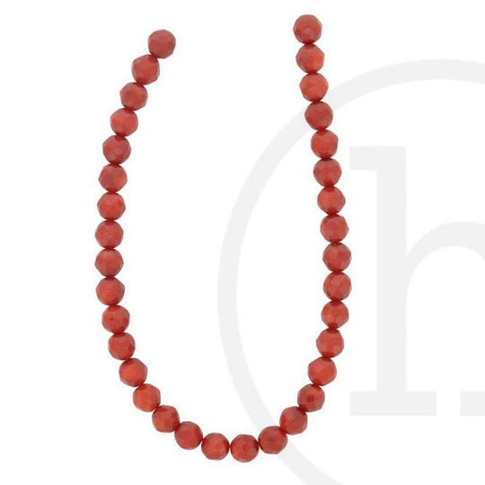 Red Dyed Bamboo Coral Faceted Round Beads 6mm