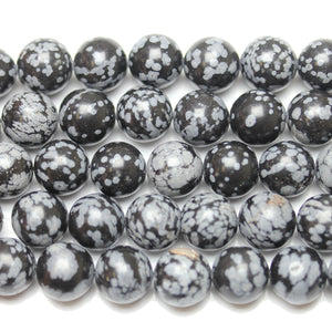 Semi-Precious Snow Flake Obsidian Round BeadsBeads by Halcraft Collection