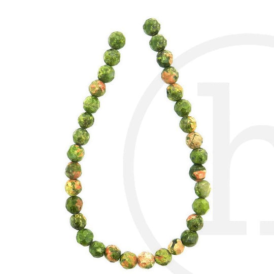 Unakite Faceted Round 6mm Beads by Halcraft Collection