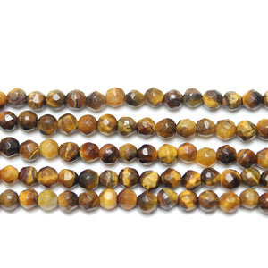 Yellow Tiger Eye (B Grade) Faceted Round BeadsBeads by Halcraft Collection