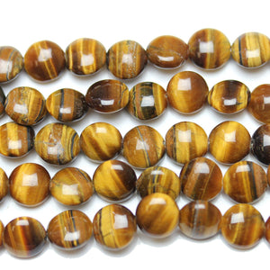 Yellow Tiger Eye (B Grade) Flat Lentil Beads 10x3mmBeads by Halcraft Collection