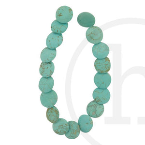 Stone Beads, Stone, Stone Bead, Stone, Beads, Semi-precious, Stone, Turquoise, Lentil, Dyed Howlite, 14x4mm, 14mm, 4mm