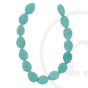 Dyed Howlite Turquoise Flat Teardrop(Straight Hole) 10X14mm