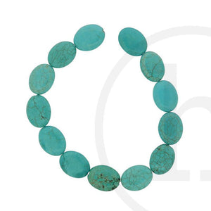 Dyed Howlite Turquoise Flat OvalBeads by Halcraft Collection
