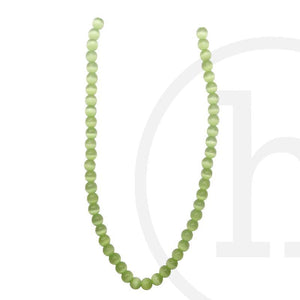 Glass Cat's Eye Round Light GreenBeads by Halcraft Collection
