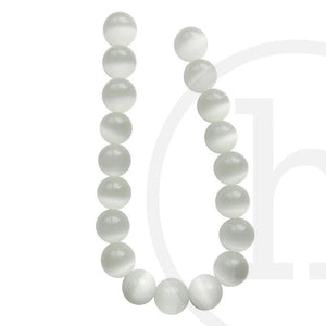 Glass Cat's Eye Round WhiteBeads by Halcraft Collection