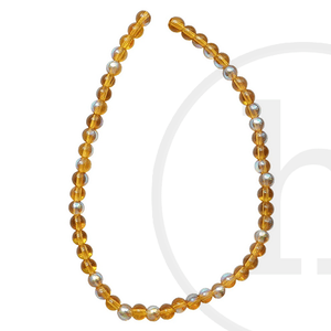 Glass Beads Round Light Amber Ab Finish