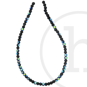 Glass Beads Round Black Ab Finish