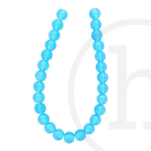 Glass Beads Round Aqua LusterBeads by Halcraft Collection