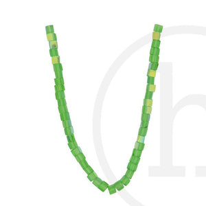 Glass Beads Cube Grass Green Rainbow LusterBeads by Halcraft Collection