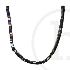 Glass Beads Cube Black Rainbow Luster
