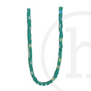 Glass Beads Cube Ocean Green Ab Finish