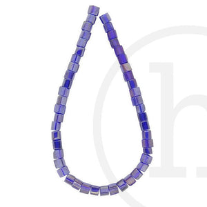 Glass Beads, Glass, Beads, Glass, Dark Sapphire, Blue, Royal Blue, AB, Cube, 4mm, 6mm