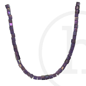 Glass Beads Cube Lavender Rainbow Luster