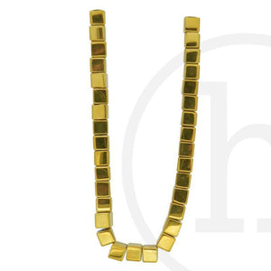 Glass Beads Cube Gold IrisBeads by Halcraft Collection