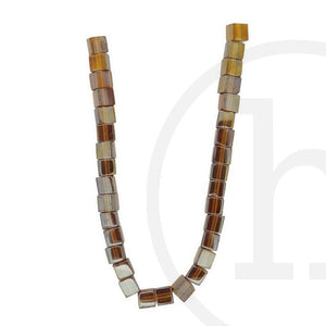 Glass Beads Cube Amber Luster