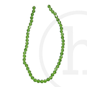 Glass Beads Faceted Bicone Grass Green