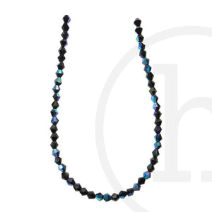 Glass Beads Faceted Bicone Black Ab Finish