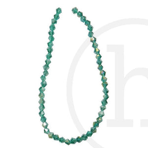 Glass Beads Faceted Bicone Ocean Green Ab Finish