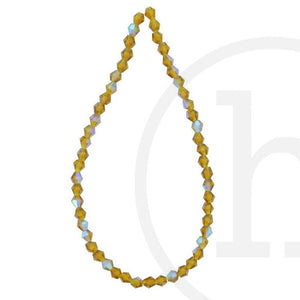 Glass Beads Faceted Bicone Amber Ab Finish